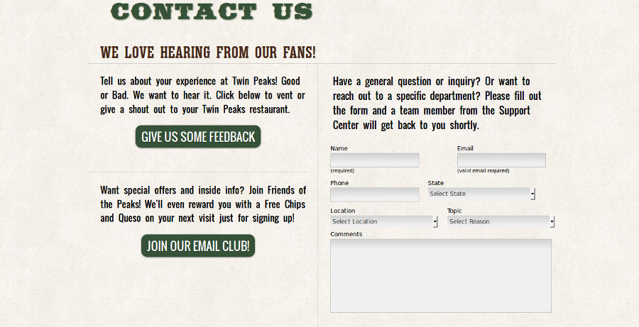 Twin Peaks Contact Form